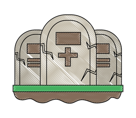 three gravestone stone monument memorial vector illustration
