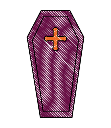 wooden coffin cross death funeral vector illustration