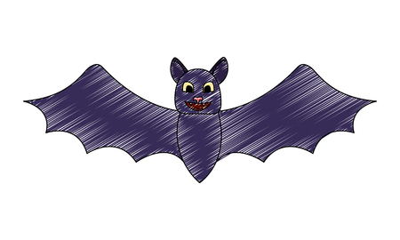 halloween bat cartoon character open wings vector illustration