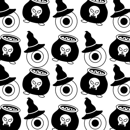 halloween cauldron with eye and hat witch pattern vector illustration design Foto de archivo - 109824277