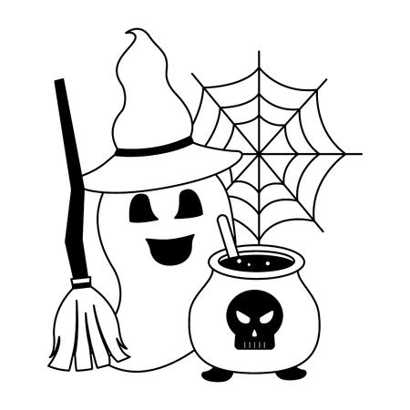 halloween cauldron with skull and set icons vector illustration design Ilustração