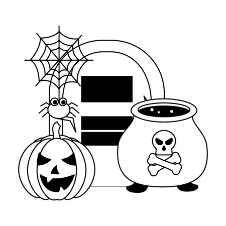 halloween pumpkin with tomb and set icons vector illustration design