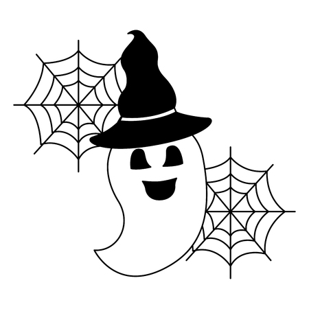 halloween ghost with hat witch isolated icon vector illustration design
