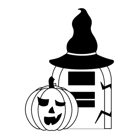 halloween pumpkin with hat witch and tomb vector illustration design