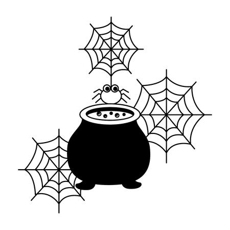 halloweenowy kocioł z pająkiem na białym tle ikona wektor ilustracja projektu