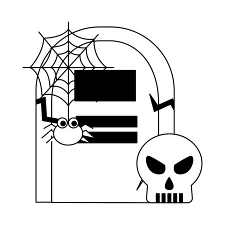 halloween tomb with skull and spider vector illustration design