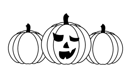set of halloween pumpkins isolated icon vector illustration design