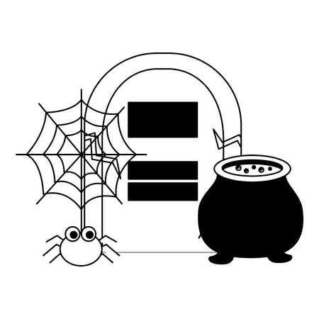 halloween cauldron with tomb and spider vector illustration design