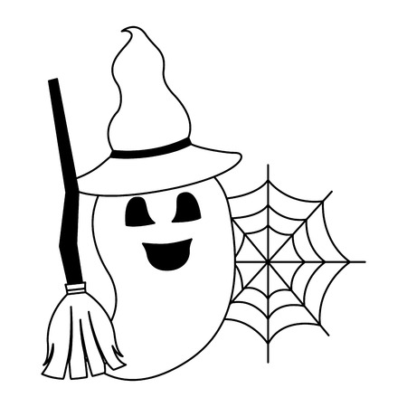 halloween ghost with broom and hat witch vector illustration design
