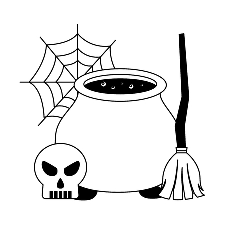 halloween cauldron with broom witch and skull vector illustration design