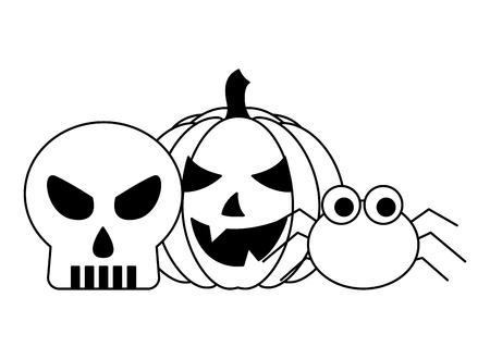 halloween pumpkin with skull and spider vector illustration design  イラスト・ベクター素材