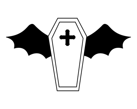 halloween coffin with bat wings isolated icon vector illustration design Standard-Bild - 109824300