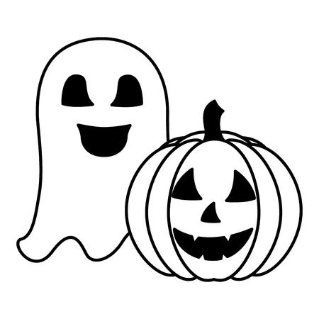 halloween pumpkin with ghost isolated icon vector illustration design Illustration