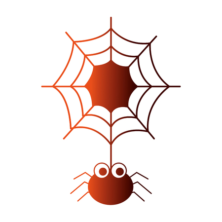 halloween spider with spiderweb isolated icon vector illustration design Stock Illustratie
