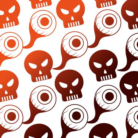 halloween eye and skull icon pattern vector illustration design
