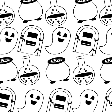 happy halloween icons pattern vector illustration design