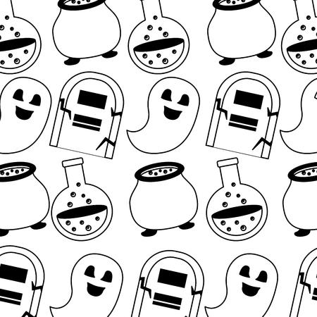 happy halloween icons pattern vector illustration design