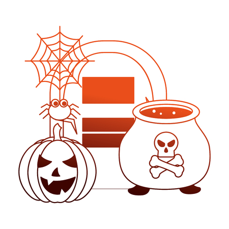 halloween pumpkin with tomb and set icons vector illustration design Reklamní fotografie - 109824322