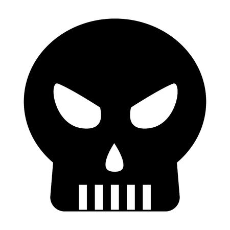 halloween czaszka na białym tle ikona wektor ilustracja projekt