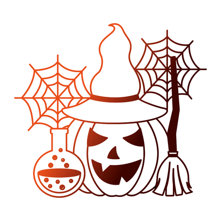 halloween pumpkin with witch hat and set icons vector illustration design