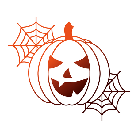 halloween pumpkin with spider web isolated icon vector illustration design