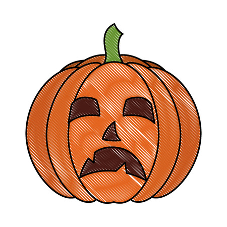 halloween pumpkin face sad cartoon vector illustration