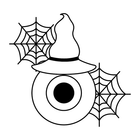 halloween eye with hat witch isolated icon vector illustration design Foto de archivo - 109824336