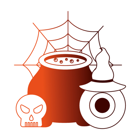 halloween cauldron with skull and set icons vector illustration design Illustration