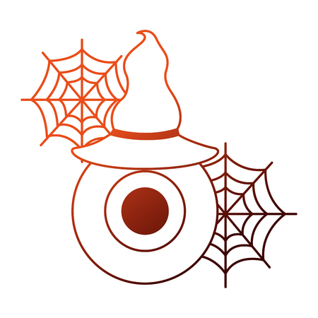 halloween eye with hat witch isolated icon vector illustration design Vector Illustration