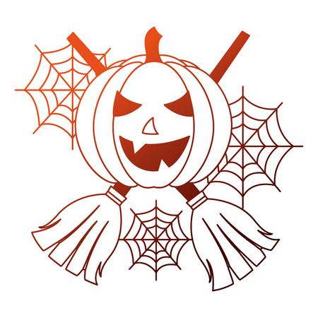 halloween pumpkin with broom crossed and spider web icon vector illustration design Illustration