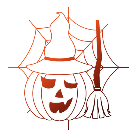 halloween pumpkin with broom and witch hat vector illustration design