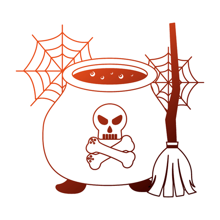 halloween cauldron with skull and broom witch vector illustration design