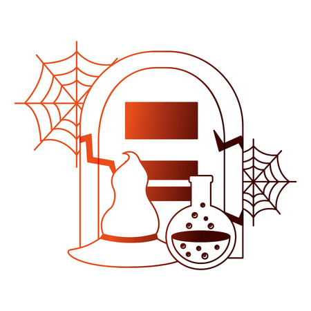 halloween tomb with poison and witch hat vector illustration design