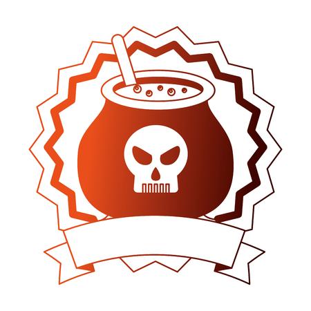 seal stamp halloween cauldron and ribbon vector illustration design