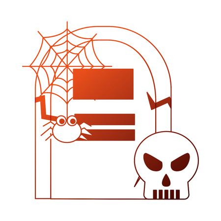 halloween tomb with skull and spider vector illustration design Banque d'images - 108573021