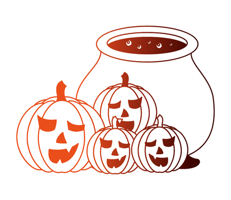 halloween cauldron and pumpkins isolated icon vector illustration design