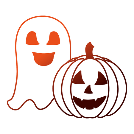 halloween pumpkin with ghost isolated icon vector illustration design  イラスト・ベクター素材