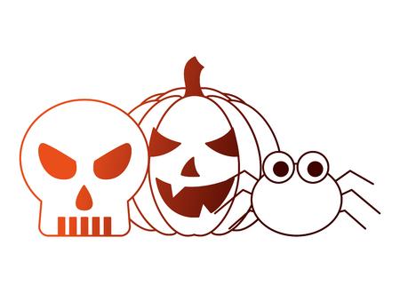 halloween pumpkin with skull and spider vector illustration design Illustration
