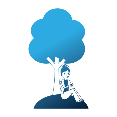 girl sitting near tree with mobile phone outdoors vector illustration neon