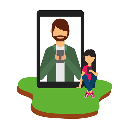 girl sitting in floor with smartphone chatting man vector illustration