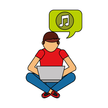 man sitting with laptop listening music vector illustration
