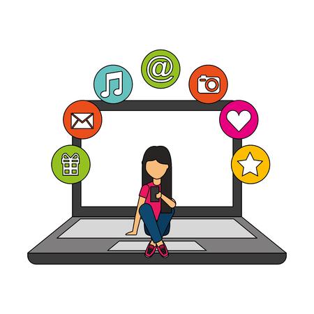 girl using cellphone sitting on laptop social media vector illustration Çizim