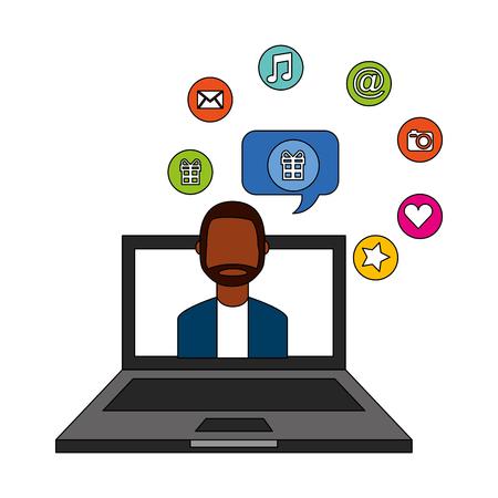 beard man on screen laptop talk bubble social media vector illustration