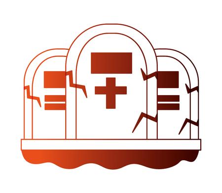 halloween tombs isolated icon vector illustration design