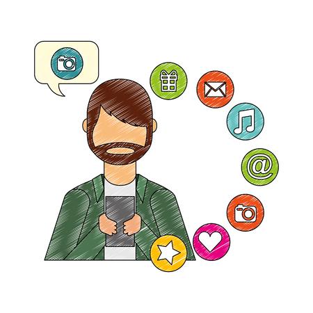 beard man using smartphone camera social media vector illustration