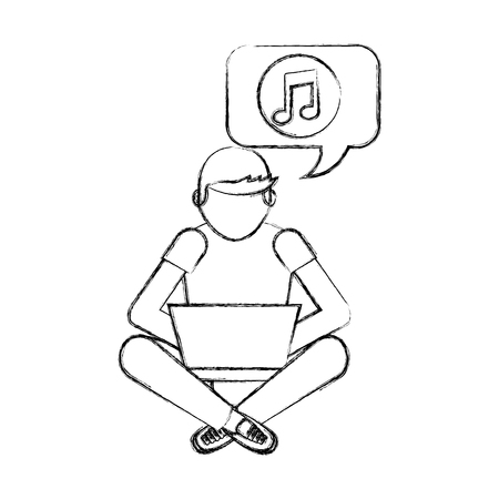 man sitting with laptop listening music vector illustration hand drawing