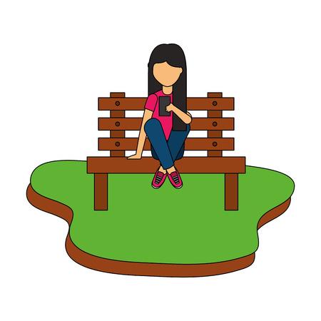 girl using smartphone sitting on bench park vector illustration Çizim