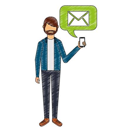 beard man holding smartphone with email vector illustration Ilustração