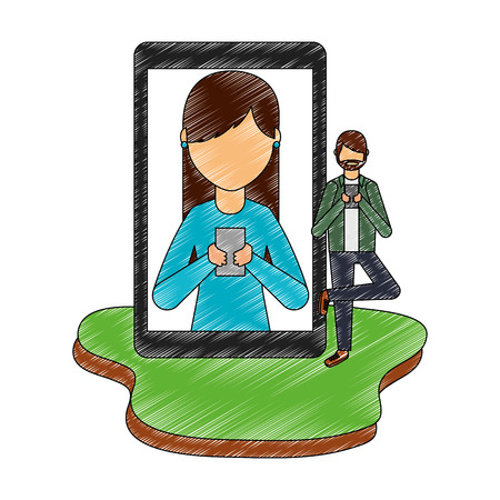man chatting woman with smartphone social media vector illustration
