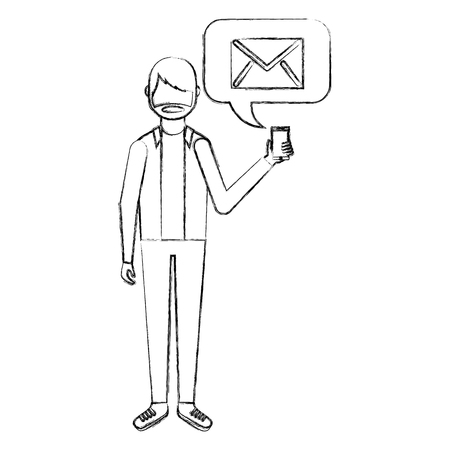 beard man holding smartphone with email vector illustration hand drawing